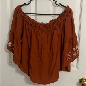 Charlotte Russe Tops - Bell Sleeve Embroidered Off-The-Shoulder Top